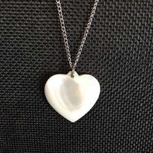 MOP heart on silver chain necklace